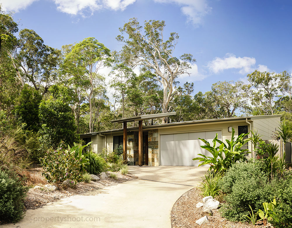 Modern Australian home with a bush backdrop